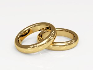 wedding ring vows - gold rings alone
